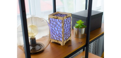 Long Distance Lamp With Stained Glass