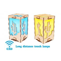 Set of 2 Long Distance Lamps with Cactus