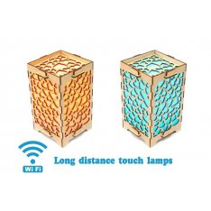 Set of 2 Long Distance Lamps with Multiple Hearts