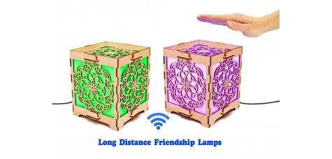 Set of 2 Touch Lamps Cube with Mandala