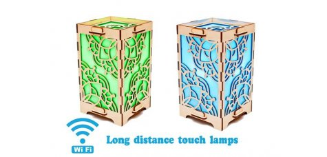 Set of 2 Touch Lamps Rectangle with Mandala